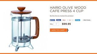 Hario Olive Wood Cafe Press 4 Cup