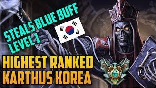LEVEL 1 CHEESE TACTIC HIGHEST RANKED TOP LANE KOREA KARTHUS BUILD GUIDE-