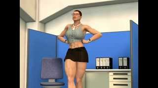 Muscle woman at the office 3d