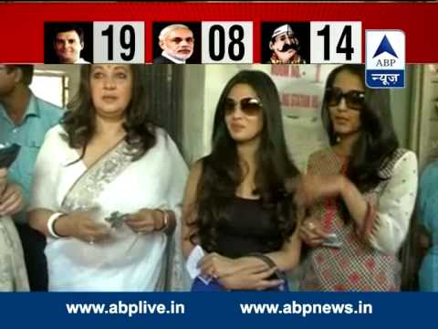 Actress & TMC candidate Moon Moon Sen, casts vote with daughters Riya and Raima