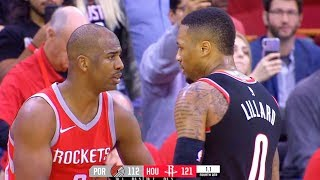 Chris Paul and Damian Lillard ALMOST FIGHT AFTER EXCHANGING WORDS After Paul Scores a Basket Up 7!