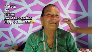 70 years old grandma makeup //Must watch | Her reaction || makeup tutorial /Babita Khatri
