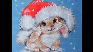 Вышивка крестом зимний зайчишка 16