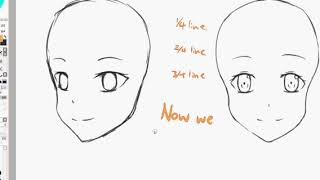 How to draw basic Anime faces (Beginners)  //Paint Tool SAI Tutorial