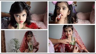Baby Radha Makeup Look/ Dress in Hindi