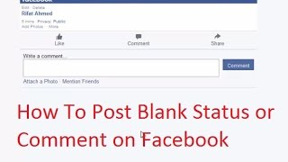 How To Post Blank Status or Comment on Facebook (Bangla Tutorial)