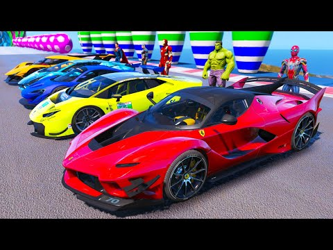SPIDERMAN with SUPERHEROES and SUPER CARS Challenge On Ramps GTA V MODS KS Gaming