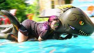Trying to Ride a Kids Dinosaur Pool Float for 10 Minutes Straight