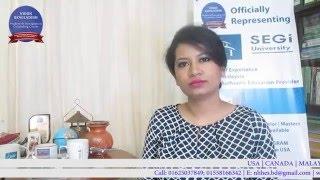 Ms. Oren Atique - Hospitality Management (Bsc) Segi Malaysia, from NHHES BANGLADESH