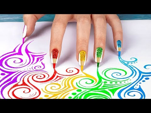 10 Weird Nail Hacks Back To School Nails Using School Supplies