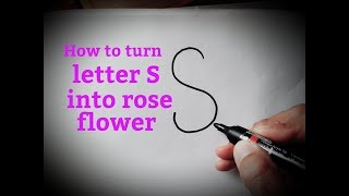 How to draw a rose flower easy from letter S how to draw from alphabets/letters for kids easy