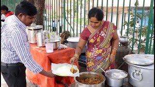 Awesome Roadside Meals Hyderabad | Hyderabad street food | Cheapest Non Veg Meals  | Telugu Adda