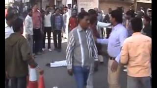 indian man fighting on the Road