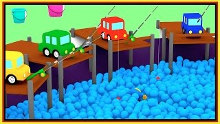 WHICH BUCKET? - Ball Pit Pool FISHING - Cartoon Cars - Car Cartoons for Kids.Kid