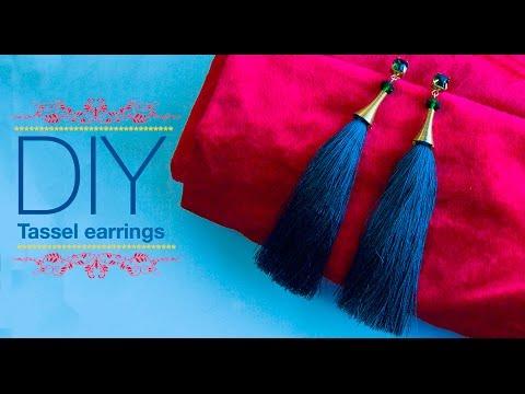 How to make silk thread Tassel earrings| DIY | Jewelry making