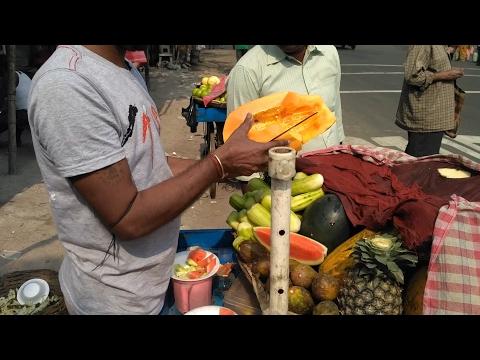 Indian Street Food Kolkata - Bengali street food India - tasty Chopped Fruit Salad in kolkata