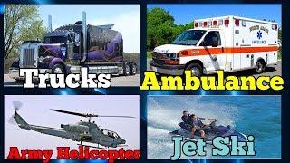 Cars and Trucks for Kids 🚓 Transports and Vehicles for Children - Dump Trucks, Ambulance, Bulldozer