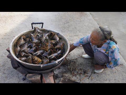 端午節咸� 子做法,熬煮1天1夜,一次吃3個,不會膩 � �Chinese Dragon Boat Festival Guangxi grandmother made traditional zongzi