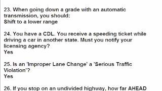 CDL General Knowledge Additional 150 Q & A 1 to 50