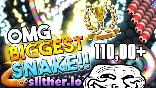 Slither.io - Biggest Snake - Trapping Big Snake Non Stop! Trolling 110,000+ SCORE!