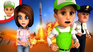 New cartoon - The satellite is flying towards the city - 3d cartoon for kids