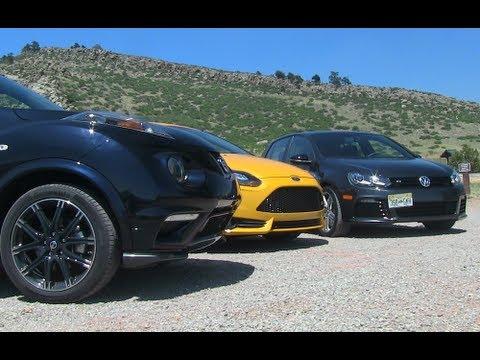 Ford Focus ST v VW Golf R v Nissan Juke Nismo 0 60 MPH Mashup Review