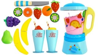 Toy Blender Playset Learn Fruits & Vegetables with Wooden Velcro Toys for Kids Preschoolers