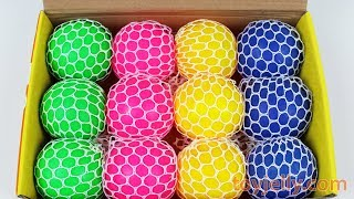 Learn Colors Mesh Squishy Balls Super Kinder Joy Surprise Egg Toy Box Playset for Kids Baby Songs