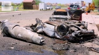 Harrier Jet Crashes in California Town: Aftermath of the Crash Site.