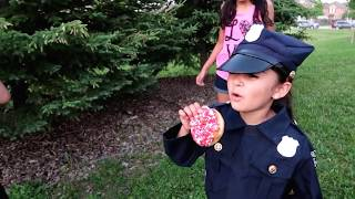 Bad Kids Steal Giant Donut and go to Jail IRL! Family Fun Kids Pretend Playtime