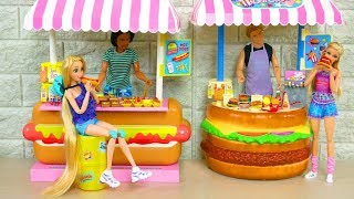 Barbie doll Hotdog Stand Toy Unboxing Assembly Barbie-Puppe Würstelstand  boneka Barbie Mainan