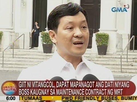 Giit ni Vitangcol, dapat mapanagot ang mga dati niyang boss kaugnay sa maintenance contract ng MRT