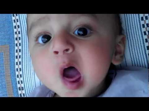 5 months old baby calling papa. So cute