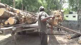 Timber truck loading 50 years ago  in 2015 (HD)