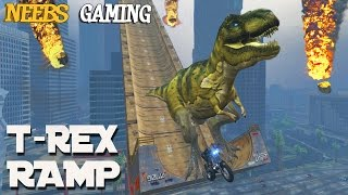 GTA 5 MODS - T-REX RAMP & METEOR SHOWER MODS (Funny Moments)
