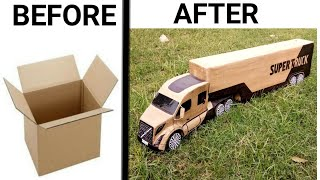How To Make Powerful Cardboard Container Truck 2 ( Volvo SUPER TRUCK) DIY cardboard Truck at home