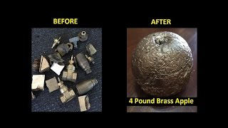 CASTING BRASS - A 4 POUND SOLID BRASS APPLE from scrap metal 1080p