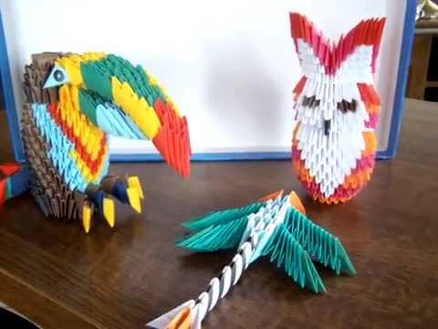 Sowa papuga i ważka origami 3D