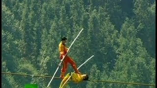 Stunning video: Fearless Chinese tightrope-walkers break world record