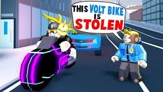 GETTING PULLED OVER IN JAILBREAK!! *STOLEN VOLT BIKE* (Roblox)