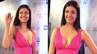 Kajal Agarwal in a DEEP LOW NECK GOWN at 61st Britannia Filmfare Awards 2016.
