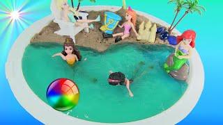 DIY Slime Beach Scene With Elsa Anna & Ariel by Rainbow Collector
