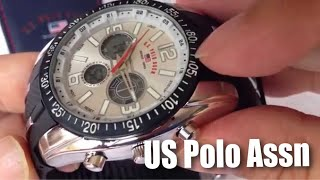 U.S. Polo Assn. Sport Men's US9061 Black Rubber Strap Watch unboxing and review