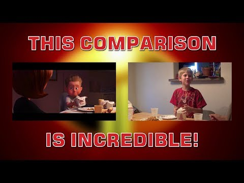 SawItTwice - Incredibles 2 Trailer Live Reenactment Comparison
