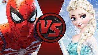 SPIDER-MAN vs ELSA! REMATCH (Marvel vs Disney) | Cartoon Fight Night (Battle Card)