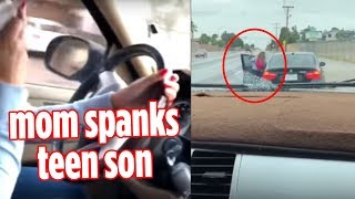 Texas mom spanks teen son after he took off in her BMW