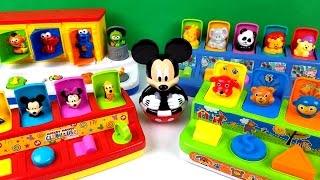 Learn Wild Zoo Farm Animals with Mickey Sesame Street Elmo Pop Up Toys