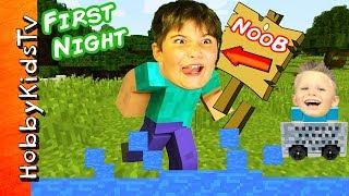 Minecraft HobbyNOOB First Night! HobbyKids Find Toys in Video Game + HobbyDad Werewolf HobbyKidsTV