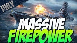 MASSIVE FIRE POWER - YAMATO GAMEPLAY ( World Of Warships Battleship Gameplay)