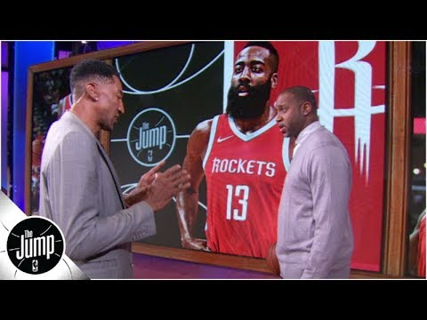 Scottie Pippen demonstrates how he would defend James Harden and Michael Jordan The Jump OT